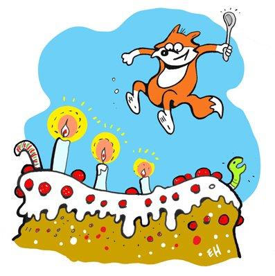 FREE CAKE!!!  MORE BUBBLE FOX FAN ART BY ESA HOLOPAINENE