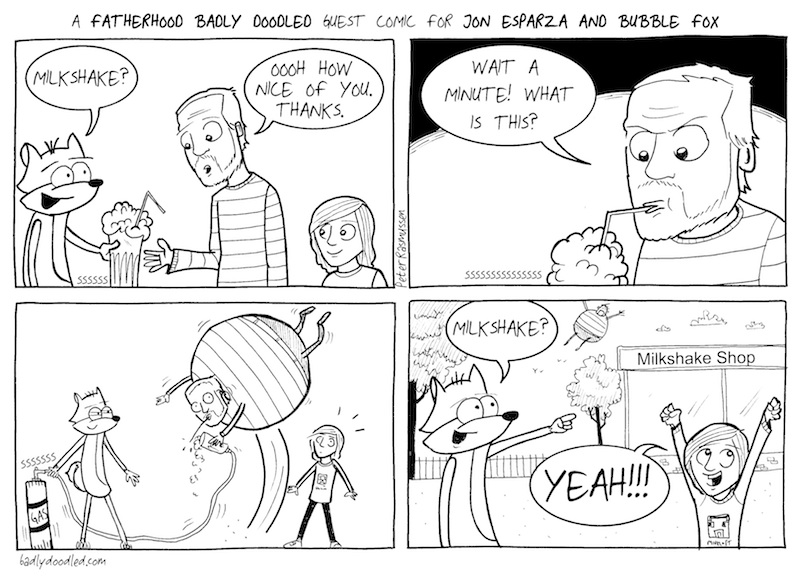 THIS MILKSHAKE'S A GAS!!!  A BUBBLE FOX GUEST COMIC BY PETER RASMUSSEN