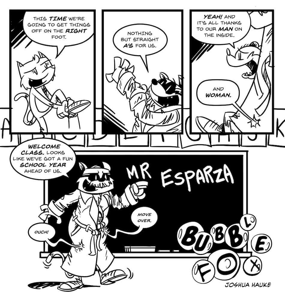 SAVED BY THE BELL!!!  A BUBBLE FOX GUEST COMIC BY JOSH HAUKE